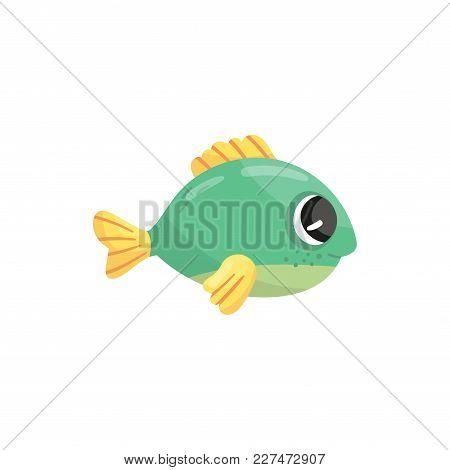 Small Green Marine Fish With Yellow Fins And Shiny Eyes. Adorable Sea Creature. Cartoon Aquatic Anim