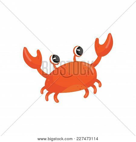 Cartoon Illustration Of Red Smiling Crab. Funny Sea Animal With Big Claws. Adorable Marine Creature