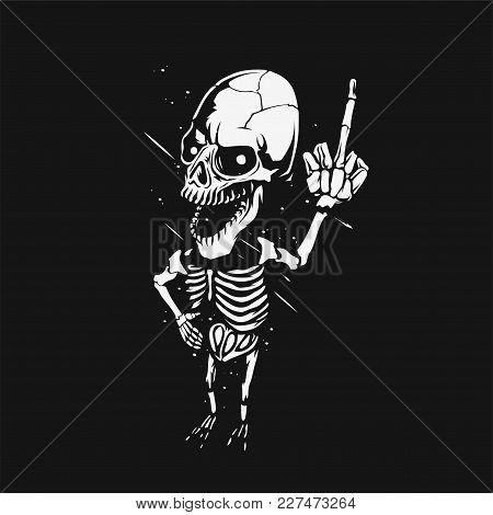 Minimal Logo Of White Skeleton On Black Background, T-shirt Print Vector Illustration Design.