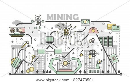 Bitcoin Mining Concept Vector Illustration. Digital Currency Or Cryptocurrency Mining Process Concep