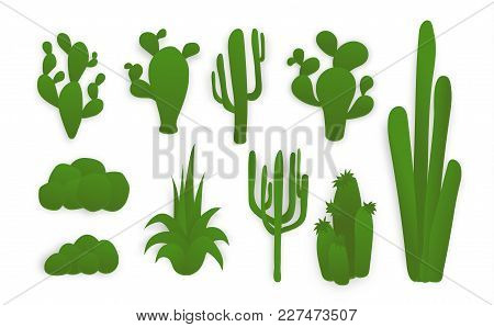 Paper Cut Collection Of Green Cacti. Different Silhouette Of A Cactus. Isolated Vector Illustration