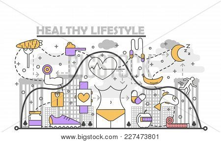 Healthy Lifestyle Concept Vector Illustration. Modern Thin Line Flat Design Element With Sport Food,