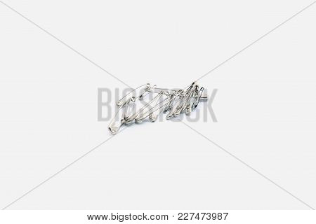 Many Of Pin Isolated. Pin On White Blackground.