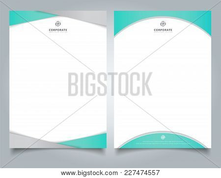 Abstract Creative Letterhead Design Template Light Blue Color Geometric Triangle And Curve Shape Ove