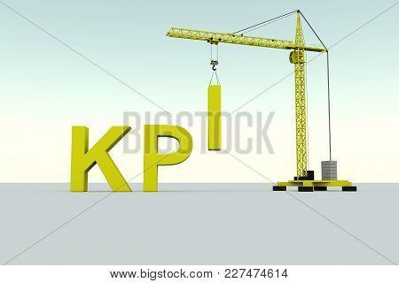 Kpi Building Concept Crane White Background 3d Illustration