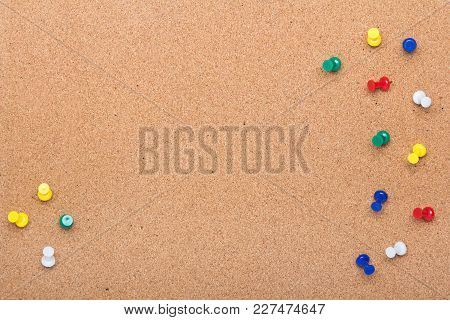 Pin Board Texture For Background And Colorful Pins Frame