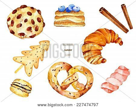 Watercolor Yummy Elements. Included Biscuit, Croissant, Bretzel, Macaron, Pancakes, Cinnamon And Can