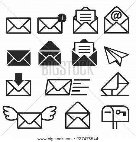 Email Icons Isolated On White Background. Vector Illustrations.