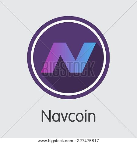 Navcoin. Virtual Currency. Nav Sign Icon Isolated On Grey Background. Stock Vector Web Icon.