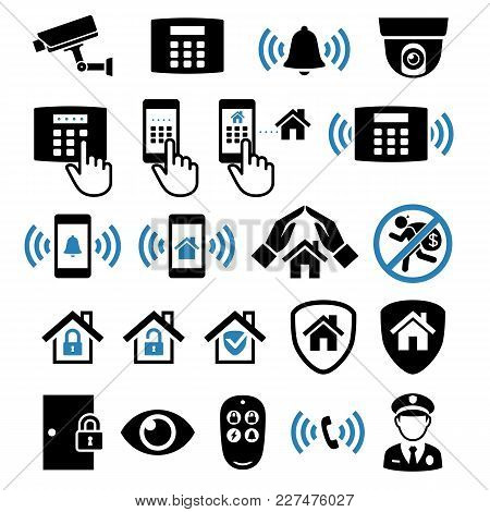 Security System Network Icons Set. Vector Illustrations.