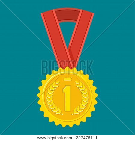 Gold Medal For The First Place. Achievement Concept. Signs And Symbols Of Success, Victory In Compet