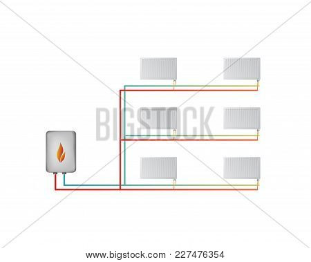 Two-pipe Horizontal Heating System Vector Illustration. The Lower Connection Of Steel Panel Radiator