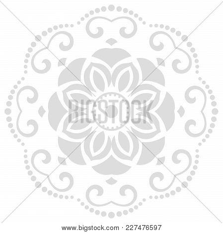 Oriental Vector Pattern With Arabesques And Floral Elements. Traditional Classic Round Light Ornamen