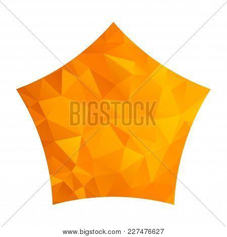 Orange Gold Star Isolated On White Background. Low Poly Origami Style Design. Polygonal Design For B