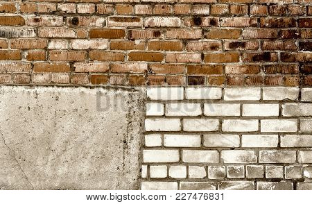 Background Texture Of A Brick Wall. Old Brick Wall Texture Background. Vintage Brick Wall. Grunge Ba