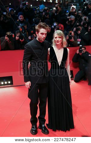 Robert Pattinson, Mia Wasikowska  attend the 'Damsel' premiere during the 68th Film Festival Berlin at Berlinale Palast on February 16, 2018 in Berlin, Germany.