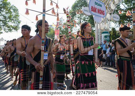 Dak Lak, Vietnam - Mar 10, 2017: Vietnamese Ethnic Minority People Wear Traditional Costumes Perform