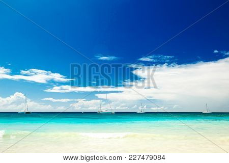 Beaches Of The Islands Of The Caribbean Sea. The Ocean And The Island  Saona In The Dominican Republ