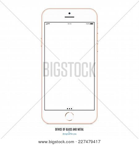 Smartphone Gold Color With Blank Screen On White Background. Stock Vector Illustration Eps10