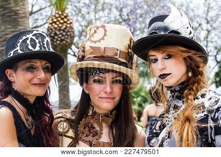 Cagliari, Italy - June 1, 2014: Sunday At The Grande Jatte In The Public Gardens, Parade Of Victoria