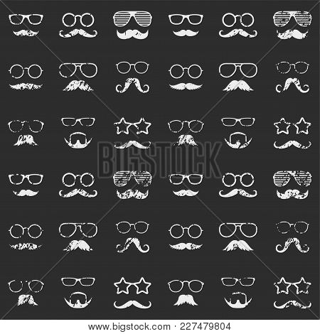 Retro Seamless Pattern With Faces. Textured Man Faces With Glasses And Mustache. Gentleman. Detectiv