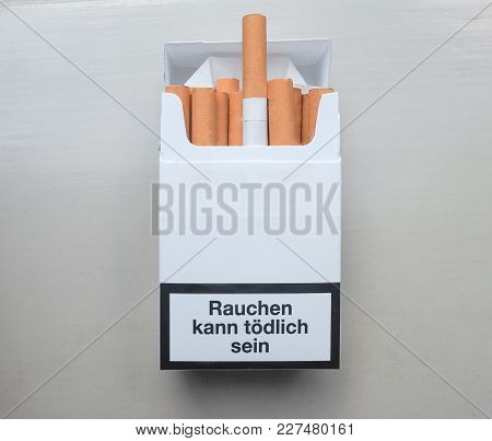 Rauchen Kann Toedlich Sein (meaning Smoking Can Be Deadly) Written On A German Packet Of Cigarettes