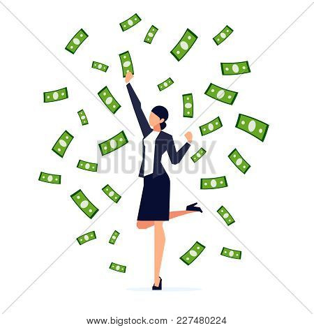 Happy Businesswoman Jumping Under The Money Rain. Businessman In A Flat Style Under A Cash Flow Isol