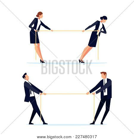 Businessmen Are Pulling Rope. Business People In A Flat Style. Concept Of Competition. Banner Design