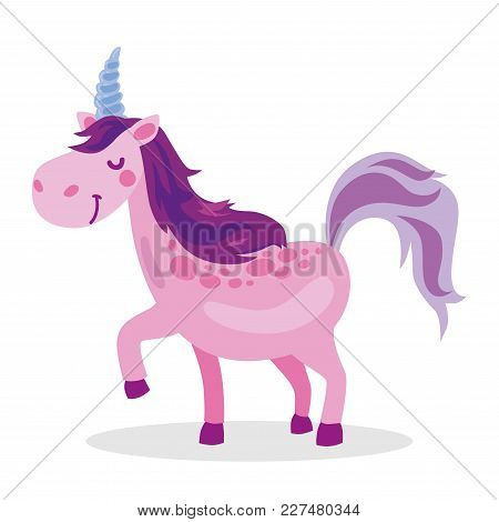 Purple Baby Unicorn Fantasy Violet Cute Cartoon Character Object Icon Isolated On White Background V