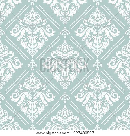 Orient Vector Classic Pattern. Seamless Abstract Background With Vintage Elements. Orient Light Blue