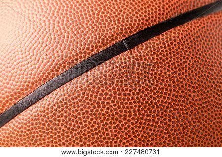 Basketball skin texture close up