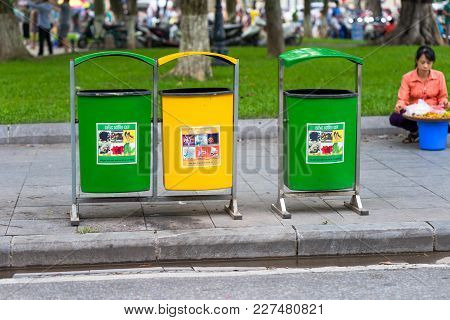 Hanoi, Vietnam - Sep 2, 2016: Multiple Plastic Recycling Container Bins On Hanoi Street