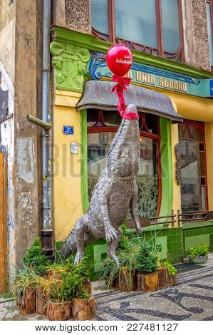 Wroclaw/poland- August 19, 2017: View Of Kalambur Café Entrance With Installation - Crocodile Flying