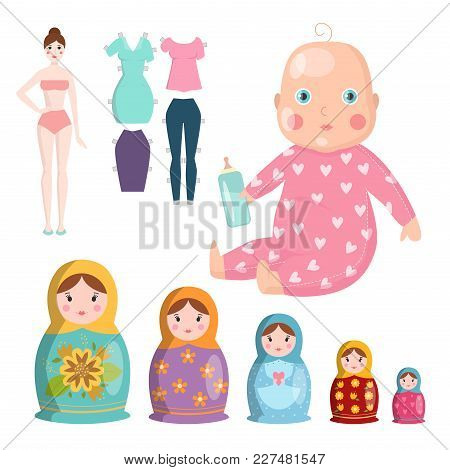 Dolls Toy Character Game Dress And Farm Scarecrow Rag-doll Vector Illustration. Pretty Underwear Lit