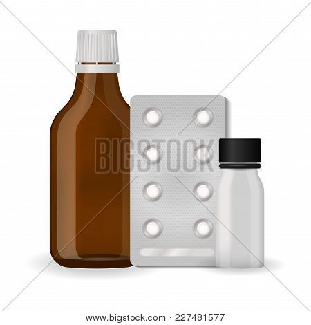 Bottle Pack Template Mockup Blank Pharmaceutical Blister Of Pills And Capsules Tube Container For Dr