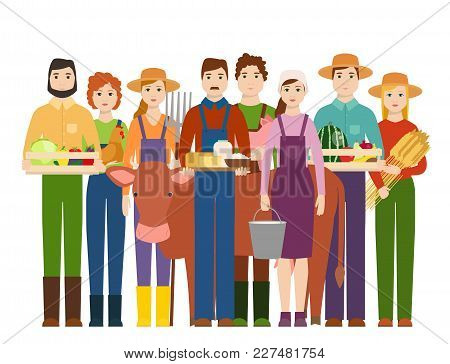 Farmer Workers People Character Agriculture Person Profession Farming Life Vector Illustration. Gard
