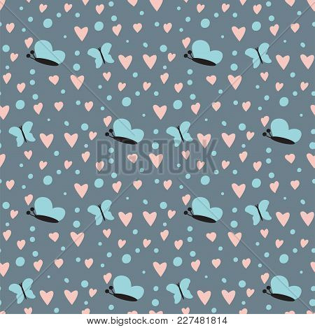 Simple Heart Sharp Butterfly Vector Seamless Pattern Background Pink Color Card Beautiful Celebrate