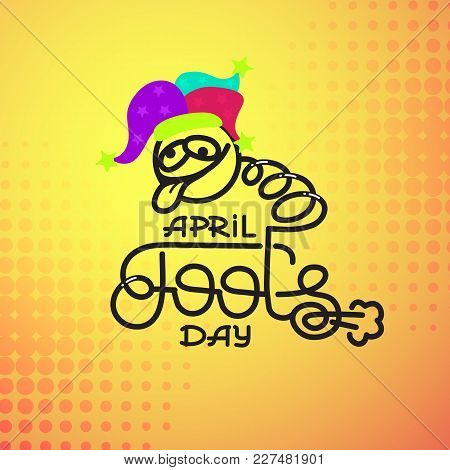 First April Fool Day joke Greeting Card.  Comic Crazy Face in clown hat. Vector lettering design. Perfect for greeting card, banner or advertisement. 1st of April. poster