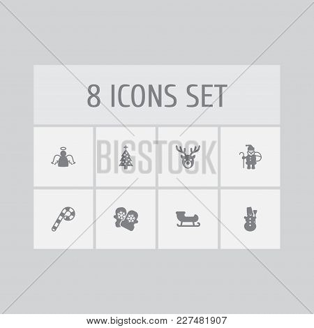 Set Of 8 Holiday Icons Set. Collection Of Ice Person, Deer, Santa Sleigh And Other Elements.