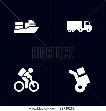 Set Of 4 Shipping Icons Set. Collection Of Delivery, Vessel, Truck And Other Elements.