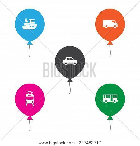 Set Of 5 Transport Icons Set. Collection Of Car, Tram, Bus And Other Elements.