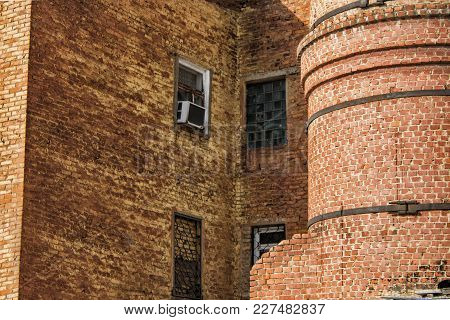 Old Industrial Building. Old Factory. Old Architecture. Building Fragment. Brick Factory. Brick Wall