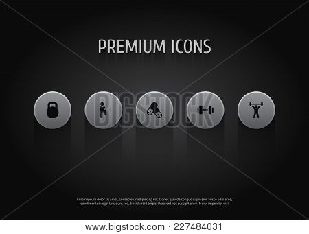 Set Of 5 Bodybuilding Icons Set. Collection Of Kettlebells, Knee Raise, Fitness And Other Elements.
