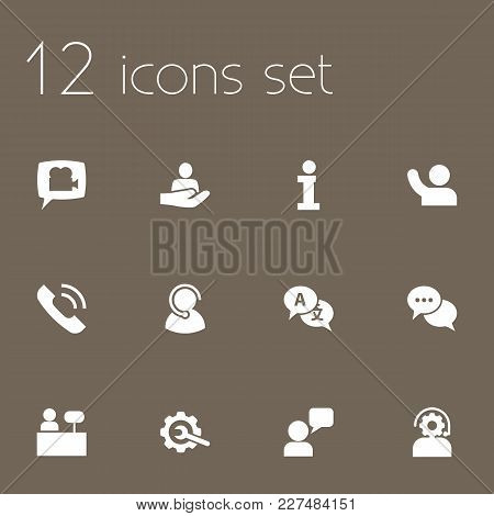 Set Of 12 Support Icons Set. Collection Of Interpreter, Information Sign, Repair And Other Elements.