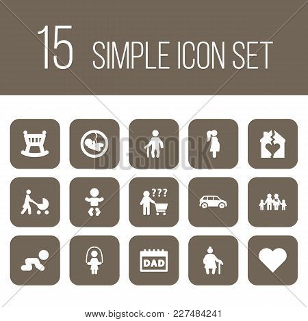 Set Of 15 Relatives Icons Set. Collection Of Grandfather, Pregnancy, Soul Elements.