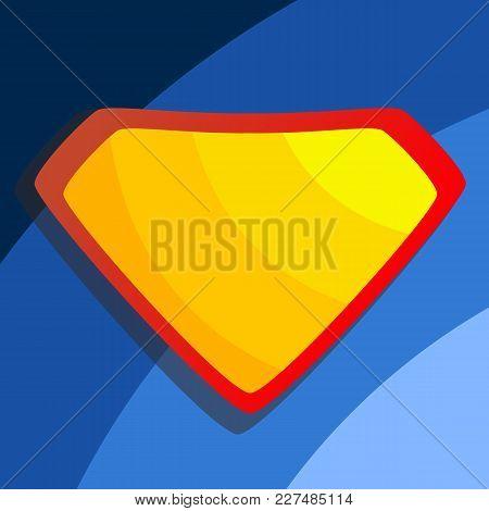 Superhero Logo Vector. Diamond Shield Symbol Shape. Badge Super Powers. Flat Cartoon Comic Illustrat