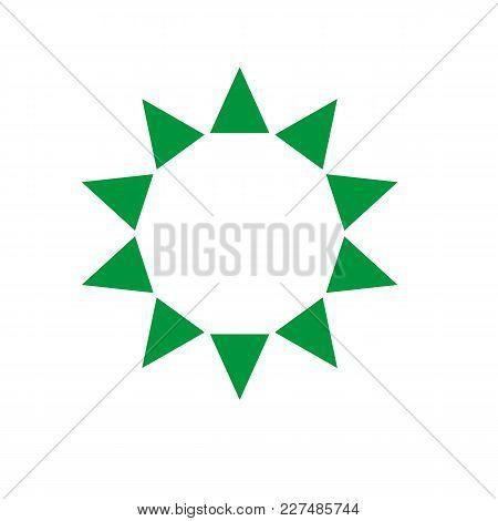 Ten Sides Pointed Star Logo Green Sun Template