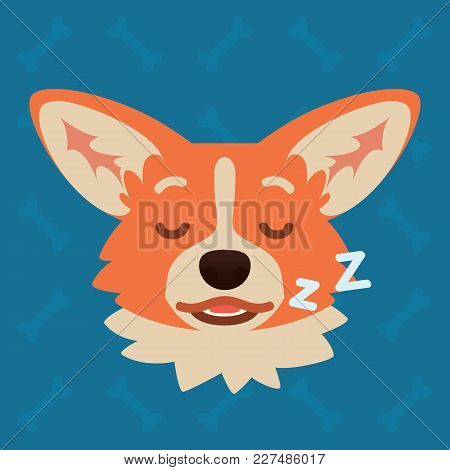 Corgi Dog Emotional Head. Vector Illustration Of Cute Dog In Flat Style Shows Sleepy Emotion. Dream