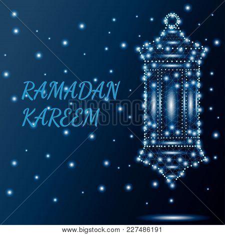 Ramadan Kareem Greeting Card With Traditional Arabic Polygonal Lantern Fanoos. Low Poly Polygon Desi