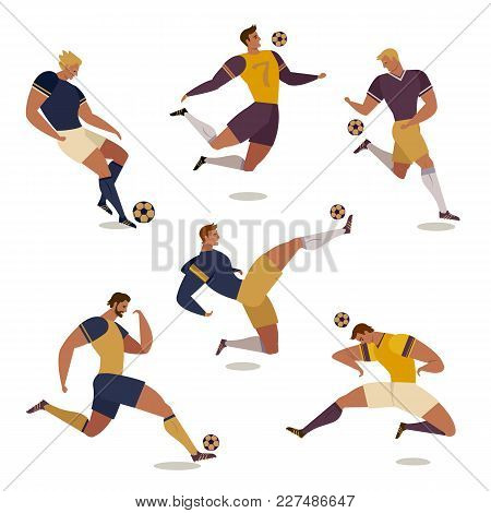 Football Soccer Player Set Of Isolated Faceless Characters Of Teammates Referee And Competition Trop